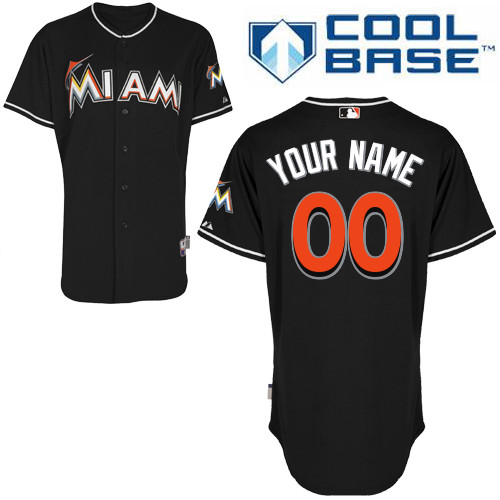 Youth Majestic Miami Marlins Customized Authentic Black Alternate 2 Cool Base MLB Jersey
