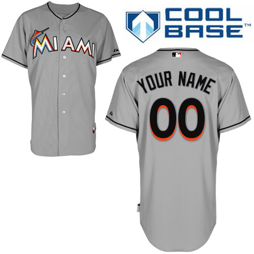 Youth Majestic Miami Marlins Customized Authentic Grey Road Cool Base MLB Jersey