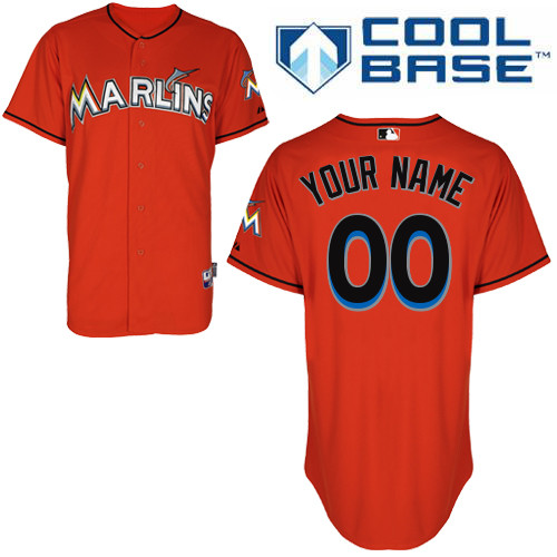 Youth Majestic Miami Marlins Customized Authentic Orange Alternate 1 Cool Base MLB Jersey