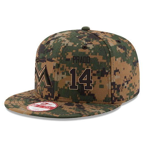 MLB Men's Miami Marlins #14 Martin Prado New Era Digital Camo 2016 Memorial Day 9FIFTY Snapback Adjustable Hat