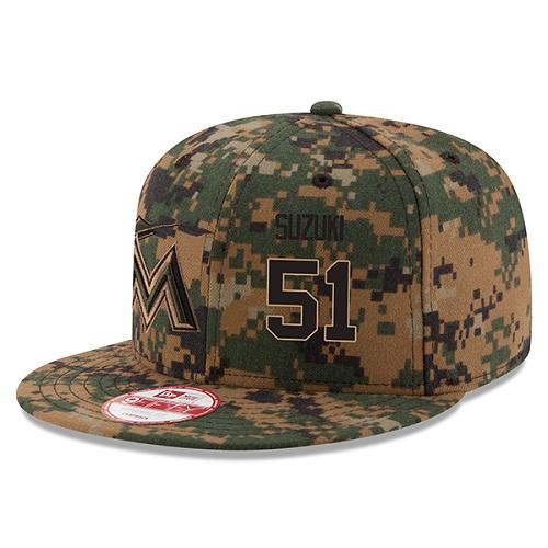 MLB Men's Miami Marlins #51 Ichiro Suzuki New Era Digital Camo 2016 Memorial Day 9FIFTY Snapback Adjustable Hat