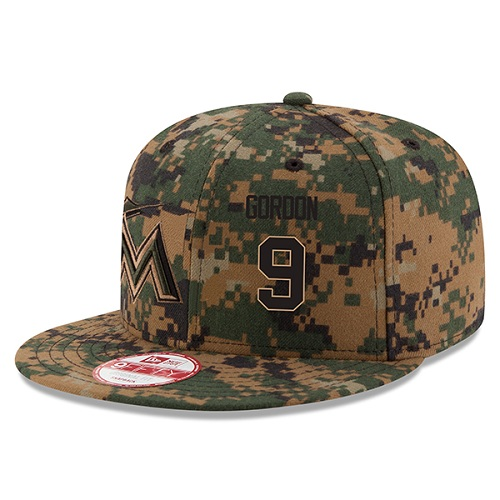 MLB Men's Miami Marlins #9 Dee Gordon New Era Digital Camo 2016 Memorial Day 9FIFTY Snapback Adjustable Hat