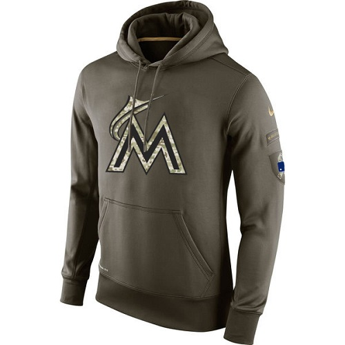 MLB Men's Miami Marlins Nike Olive Salute To Service KO Performance Hoodie