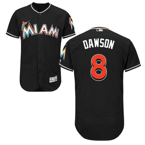 Men's Majestic Miami Marlins #8 Andre Dawson Black Alternate Flex Base Authentic Collection MLB Jersey