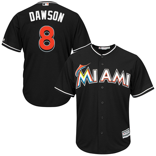 Men's Majestic Miami Marlins #8 Andre Dawson Replica Black Alternate 2 Cool Base MLB Jersey