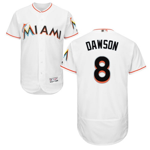 Men's Majestic Miami Marlins #8 Andre Dawson White Home Flex Base Authentic Collection MLB Jersey