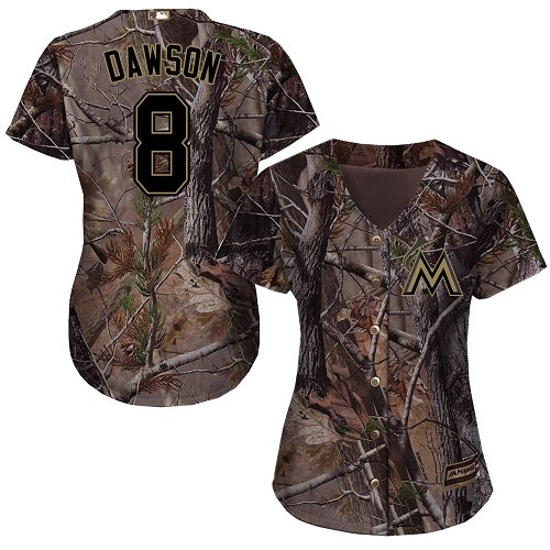 Women's Majestic Miami Marlins #8 Andre Dawson Authentic Camo Realtree Collection Flex Base MLB Jersey