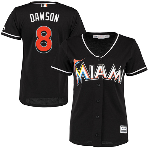 Women's Majestic Miami Marlins #8 Andre Dawson Replica Black Alternate 2 Cool Base MLB Jersey