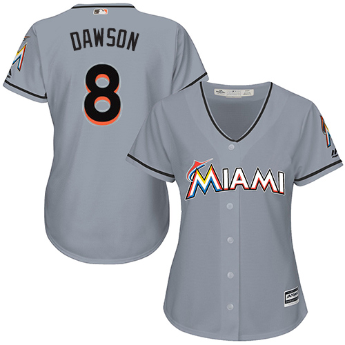 Women's Majestic Miami Marlins #8 Andre Dawson Replica Grey Road Cool Base MLB Jersey