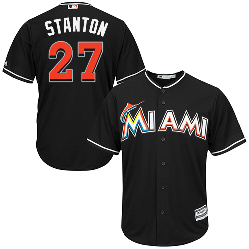 Men's Majestic Miami Marlins #27 Giancarlo Stanton Authentic Black Alternate 2 Cool Base MLB Jersey