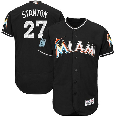 Men's Majestic Miami Marlins #27 Giancarlo Stanton Black 2017 Spring Training Authentic Collection Flex Base MLB Jersey