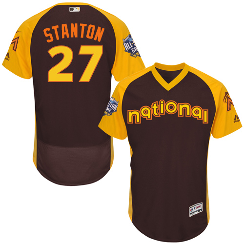Men's Majestic Miami Marlins #27 Giancarlo Stanton Brown 2016 All-Star National League BP Authentic Collection Flex Base MLB Jersey