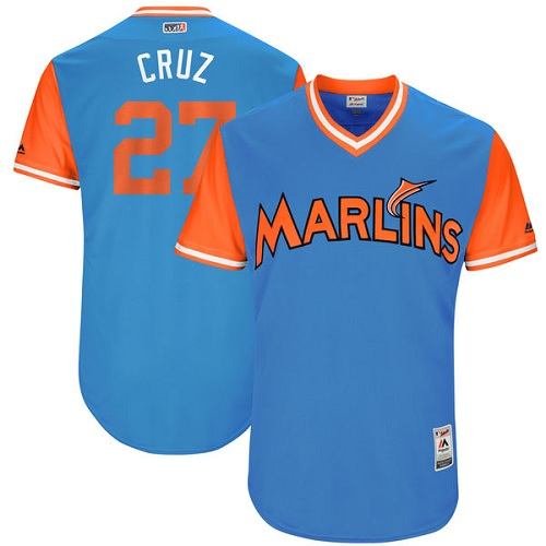 Men's Majestic Miami Marlins #27 Giancarlo Stanton