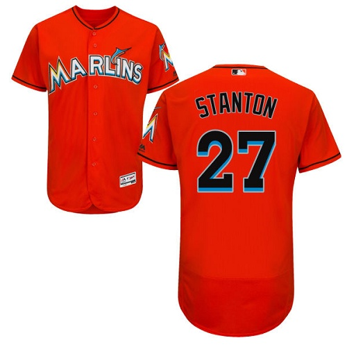 Men's Majestic Miami Marlins #27 Giancarlo Stanton Orange Flexbase Authentic Collection MLB Jersey