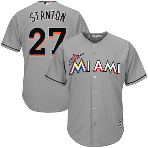 Men's Majestic Miami Marlins #27 Giancarlo Stanton Replica Grey Road Cool Base MLB Jersey