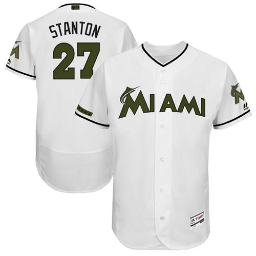 Men's Majestic Miami Marlins #27 Giancarlo Stanton White Memorial Day Authentic Collection Flex Base MLB Jersey