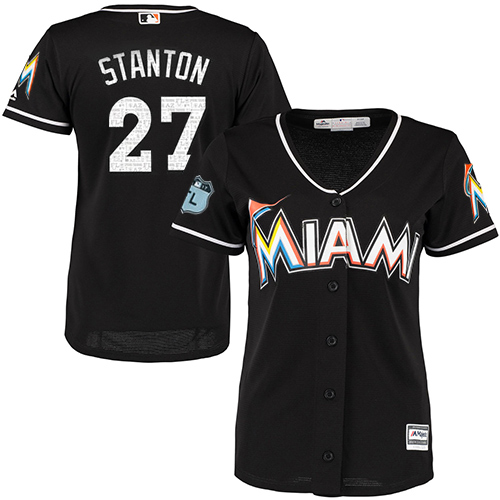 Women's Majestic Miami Marlins #27 Giancarlo Stanton Authentic Black 2017 Spring Training Cool BaseMLB Jersey