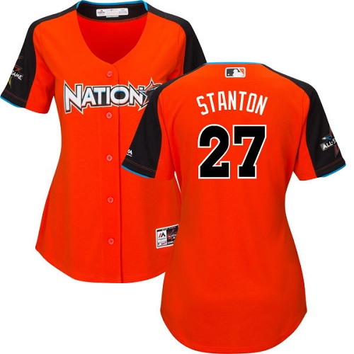Women's Majestic Miami Marlins #27 Giancarlo Stanton Authentic Orange National League 2017 MLB All-Star MLB Jersey
