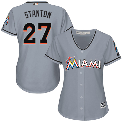 Women's Majestic Miami Marlins #27 Giancarlo Stanton Replica Grey Road Cool Base MLB Jersey