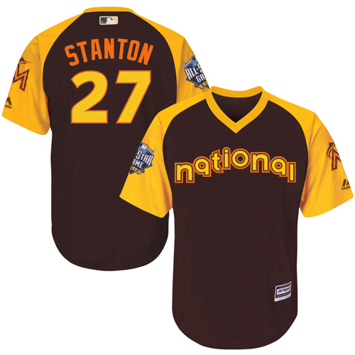 Youth Majestic Miami Marlins #27 Giancarlo Stanton Authentic Brown 2016 All-Star National League BP Cool BaseMLB Jersey