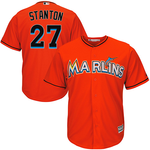 Youth Majestic Miami Marlins #27 Giancarlo Stanton Authentic Orange Alternate 1 Cool Base MLB Jersey