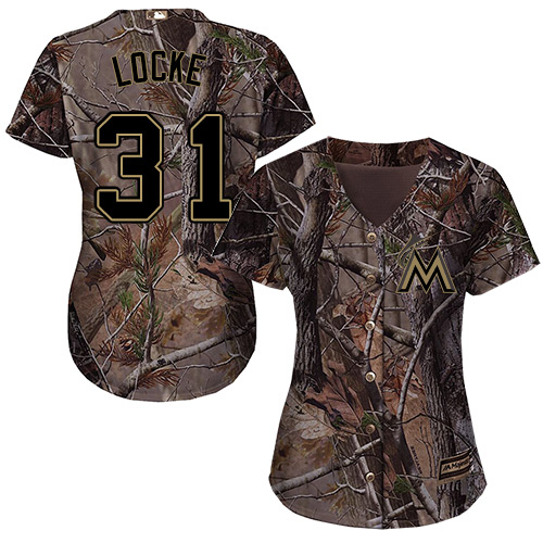 Women's Majestic Miami Marlins #31 Jeff Locke Authentic Camo Realtree Collection Flex Base MLB Jersey