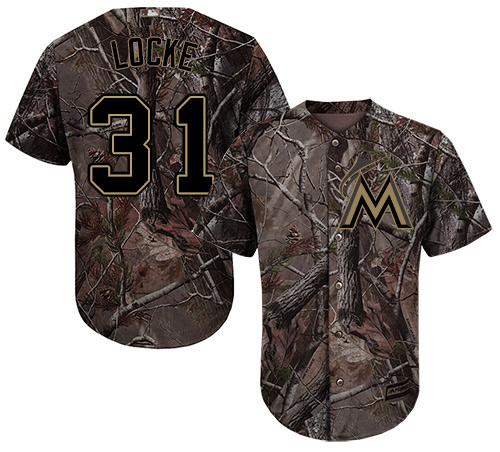 Youth Majestic Miami Marlins #31 Jeff Locke Authentic Camo Realtree Collection Flex Base MLB Jersey