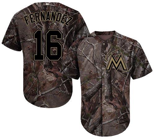 Men's Majestic Miami Marlins #16 Jose Fernandez Authentic Camo Realtree Collection Flex Base MLB Jersey