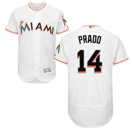 Men's Majestic Miami Marlins #14 Martin Prado White Home Flex Base Authentic Collection MLB Jersey