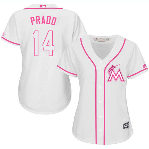 Women's Majestic Miami Marlins #14 Martin Prado Authentic White Fashion Cool Base MLB Jersey