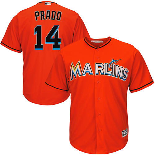 Youth Majestic Miami Marlins #14 Martin Prado Authentic Orange Alternate 1 Cool Base MLB Jersey