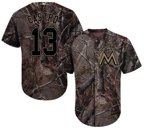 Men's Majestic Miami Marlins #13 Starlin Castro Authentic Camo Realtree Collection Flex Base MLB Jersey