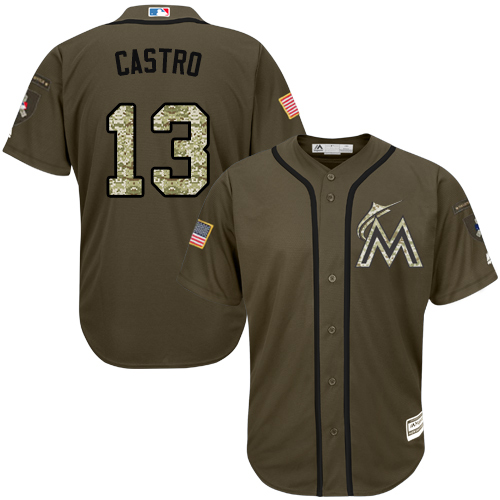 Men's Majestic Miami Marlins #13 Starlin Castro Authentic Green Salute to Service MLB Jersey