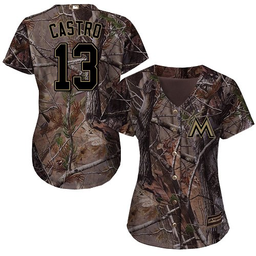 Women's Majestic Miami Marlins #13 Starlin Castro Authentic Camo Realtree Collection Flex Base MLB Jersey