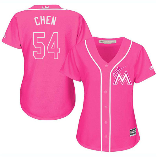 Women's Majestic Miami Marlins #54 Wei-Yin Chen Authentic Pink Fashion Cool Base MLB Jersey