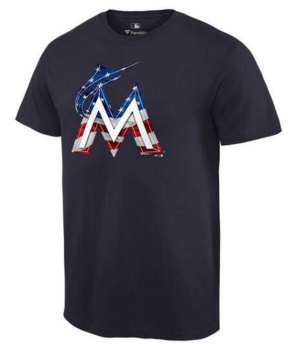 MLB Men's Miami Marlins Navy Banner Wave T-Shirt