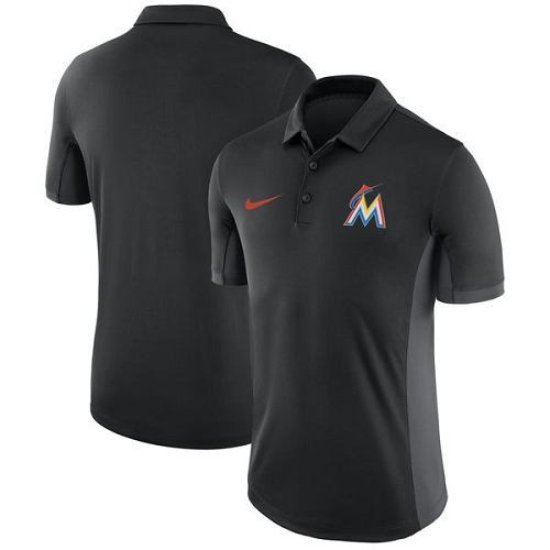 MLB Men's Miami Marlins Nike Black Franchise Polo T-Shirt
