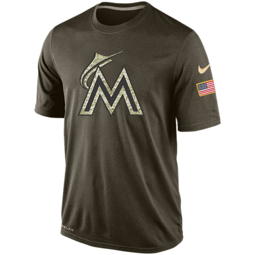 MLB Men's Miami Marlins Nike Dri-Fit Olive Salute To Service KO Performance T-Shirt