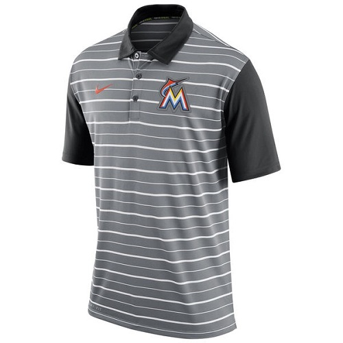 MLB Men's Miami Marlins Nike Gray Dri-FIT Stripe Polo