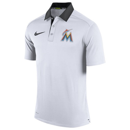 MLB Men's Miami Marlins Nike White Authentic Collection Dri-FIT Elite Polo