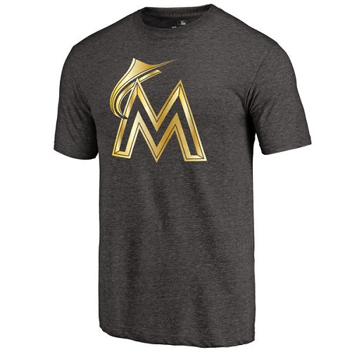 MLB Miami Marlins Fanatics Apparel Gold Collection Tri-Blend T-Shirt - Black