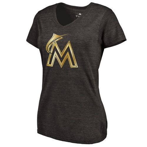 MLB Miami Marlins Fanatics Apparel Women's Gold Collection V-Neck Tri-Blend T-Shirt - Black