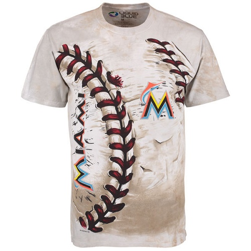 MLB Miami Marlins Hardball Tie-Dye T-Shirt - Cream