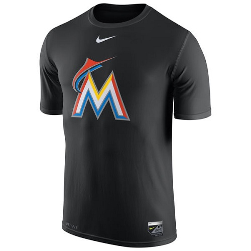 MLB Miami Marlins Nike Authentic Collection Legend Logo 1.5 Performance T-Shirt - Black