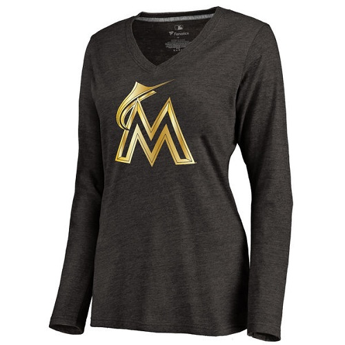 MLB Miami Marlins Women's Gold Collection Long Sleeve V-Neck Tri-Blend T-Shirt - Black